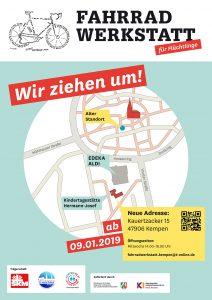 Plakat Neuer Standort Fahrradwerkstatt